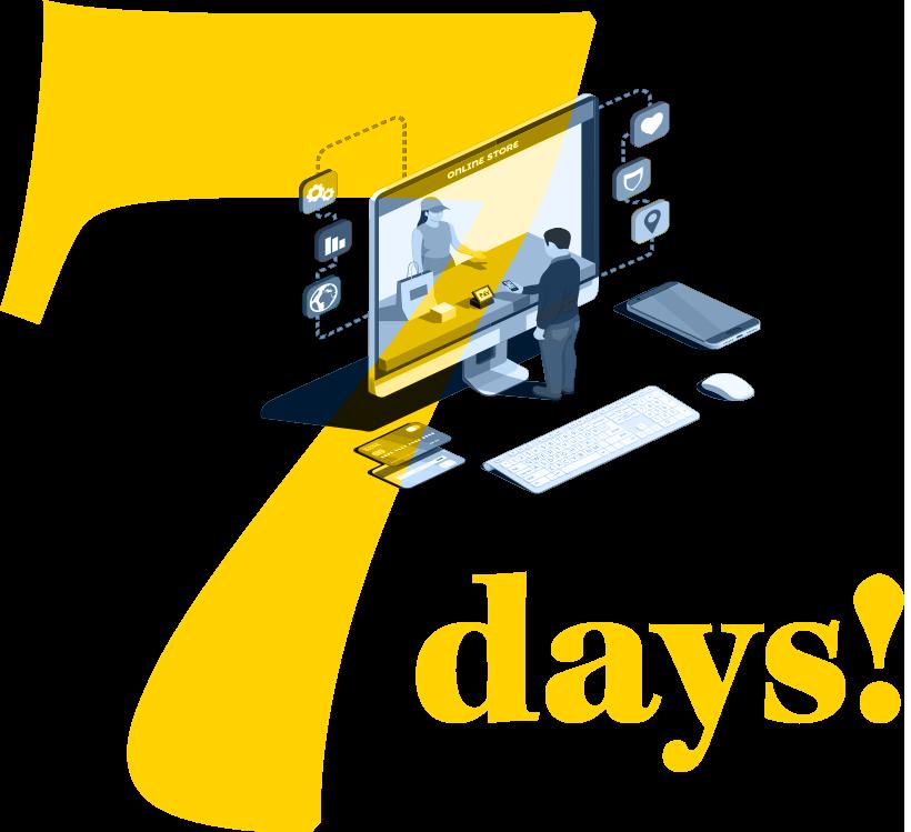 7 days - business emergency get back online