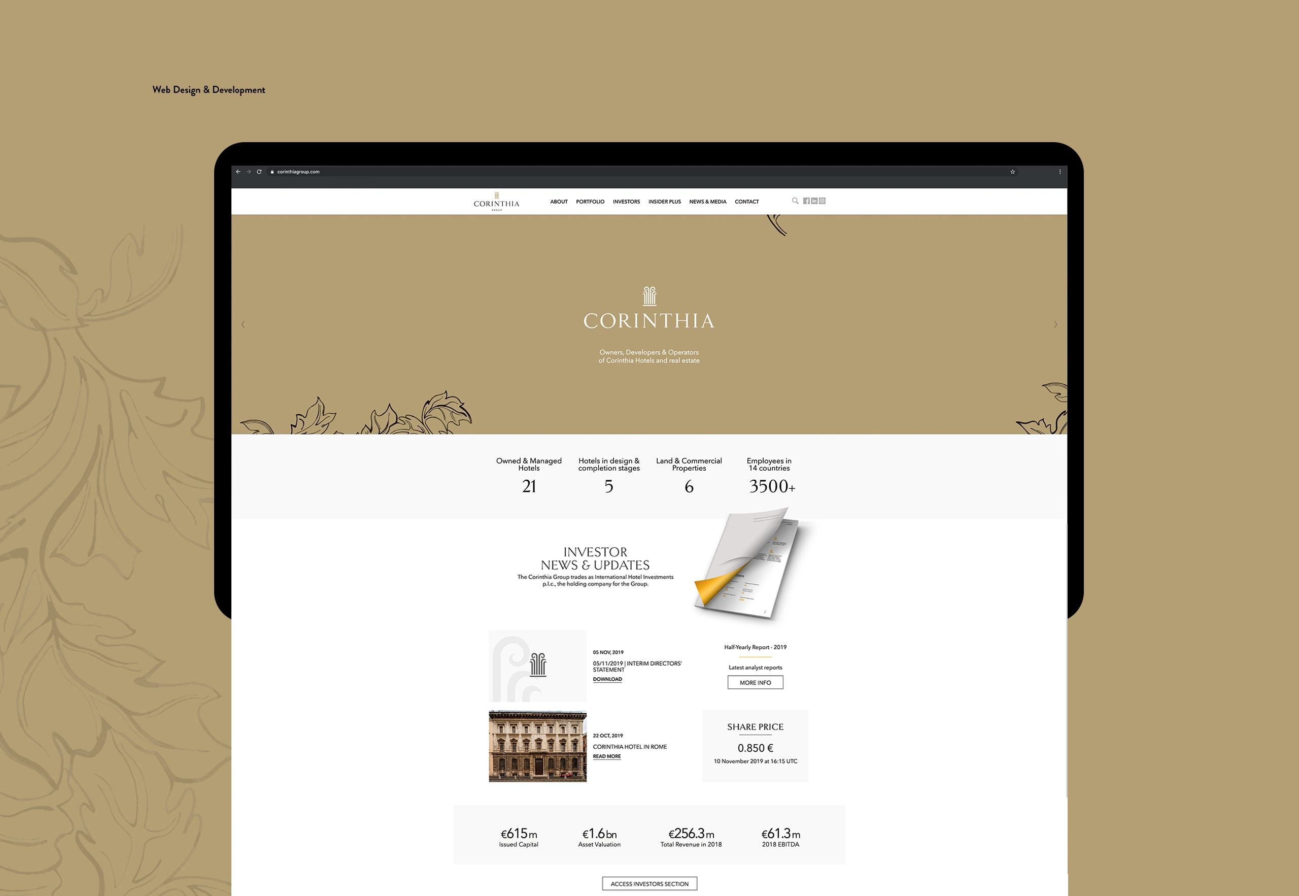 Corinthia Group – A Portfolio Website for Investors image